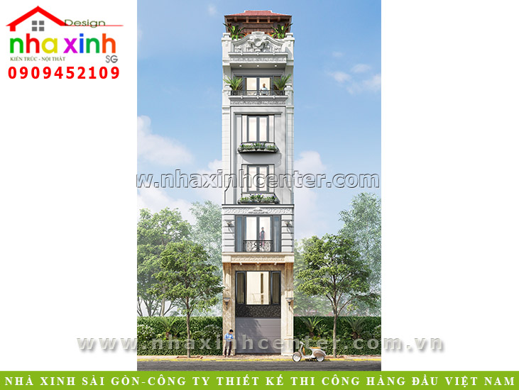 Thiết kế nhà phố tân cổ điển 4x20m