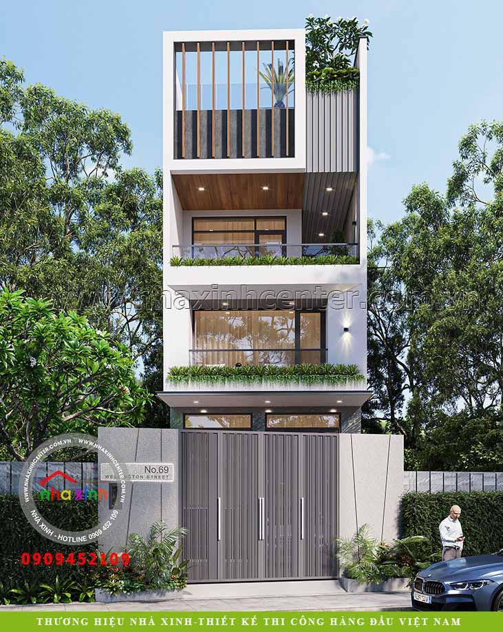 thiết kế nhà phố 4 tầng đẹp chị phương 2