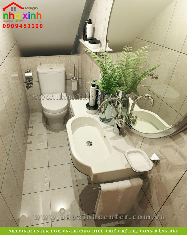 Nha ve sinh toilet tang tret, kien truc nha xinh