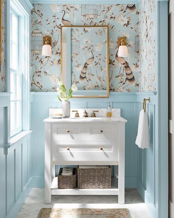 pale blue wallpaperd birds powder room