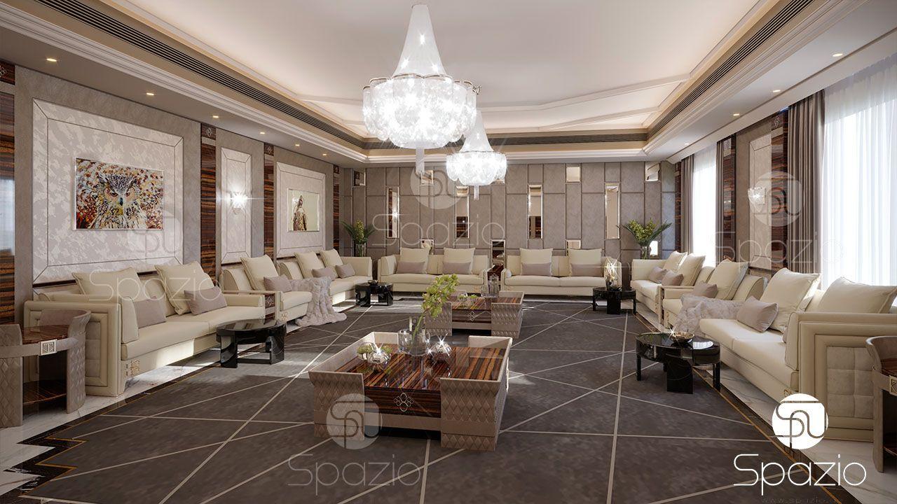 Dubai arabic formal majlis for man interior design in luxury gray color compressor