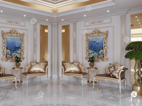 Luxury classic interior design with gold decor