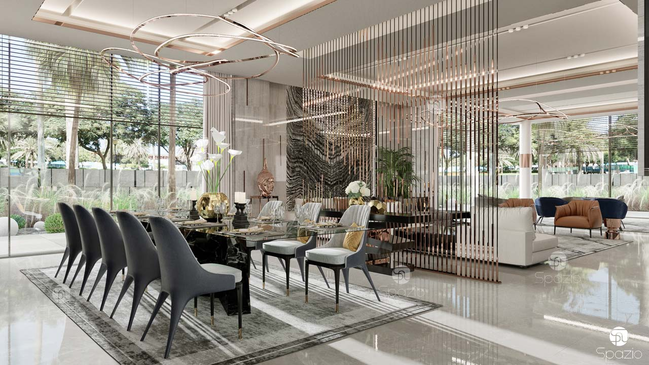 Formal dining and living room interior design