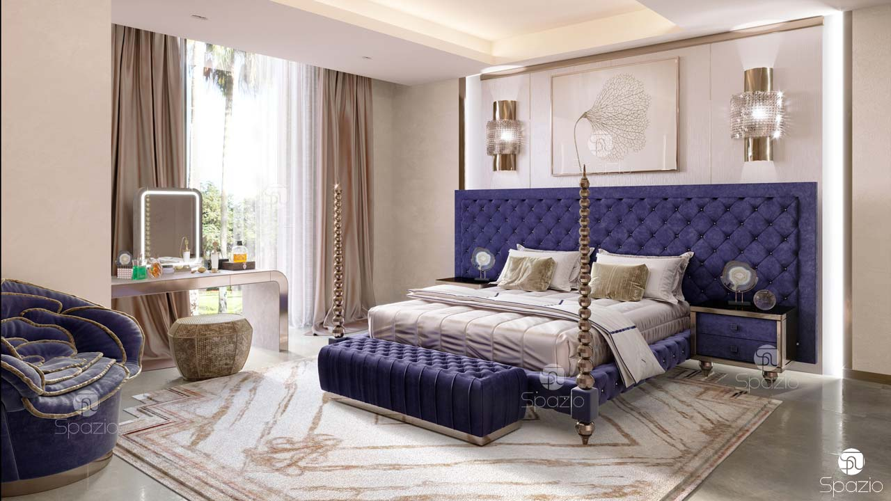Master bedroom interior design with indian style bed