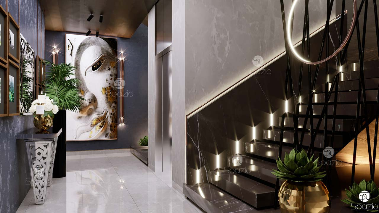Staircase hall interior design with Indian style decor