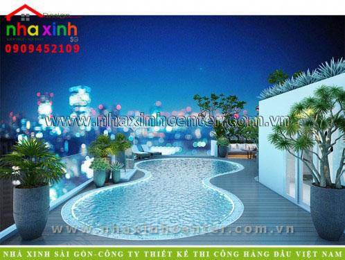 thiết kế nội thất biệt thự hiện đại có hồ bơi trên sân thượng