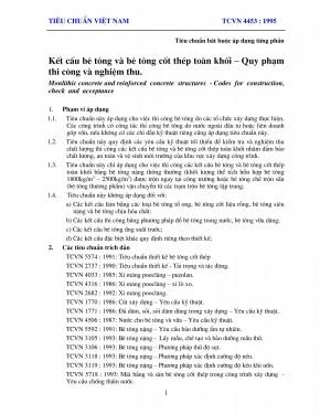 Tiêu chuẩn, quy chuẩn xây dựng việt nam tcvn 4453-1995 là gì ?